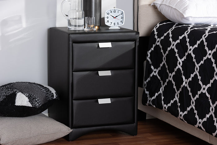Baxton Studio Talia Modern and Contemporary Black Faux Leather Upholstered 3-Drawer Nightstand