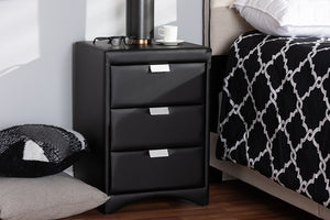 Baxton Studio Talia Modern and Contemporary Black Faux Leather Upholstered 3-Drawer Nightstand Image 4