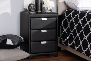 Baxton Studio Talia Modern and Contemporary Black Faux Leather Upholstered 3-Drawer Nightstand Image 11