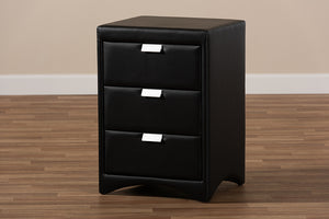 Baxton Studio Talia Modern and Contemporary Black Faux Leather Upholstered 3-Drawer Nightstand Image 12