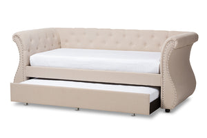 Baxton Studio Cherine Classic and Contemporary Beige Fabric Upholstered Daybed with Trundle Image 6