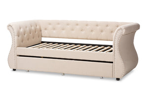 Baxton Studio Cherine Classic and Contemporary Beige Fabric Upholstered Daybed with Trundle Image 8