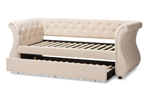 Baxton Studio Cherine Classic and Contemporary Beige Fabric Upholstered Daybed with Trundle Image 9
