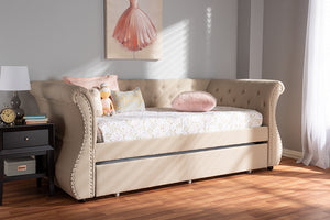 Baxton Studio Cherine Classic and Contemporary Beige Fabric Upholstered Daybed with Trundle Image 3