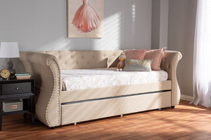 Baxton Studio Cherine Classic and Contemporary Beige Fabric Upholstered Daybed with Trundle Image 4