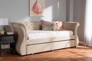 Baxton Studio Cherine Classic and Contemporary Beige Fabric Upholstered Daybed with Trundle Image 12
