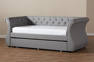 Baxton Studio Cherine Classic and Contemporary Grey Fabric Upholstered Daybed with Trundle Image 14