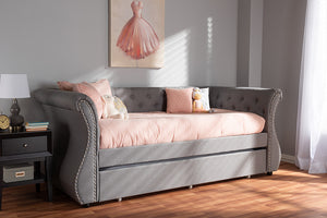 Baxton Studio Cherine Classic and Contemporary Grey Fabric Upholstered Daybed with Trundle Image 4