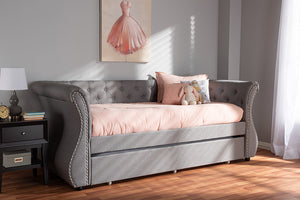 Baxton Studio Cherine Classic and Contemporary Grey Fabric Upholstered Daybed with Trundle Image 12