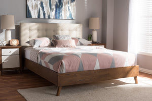 Baxton Studio Alinia Mid-century Retro Modern Light Beige Fabric Upholstered Walnut Wood King Size Platform Bed Image 3