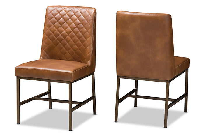 Baxton Studio Margaux Modern Luxe Light Brown Faux Leather Upholstered Dining Chair Set of 2