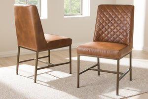 Baxton Studio Margaux Modern Luxe Light Brown Faux Leather Upholstered Dining Chair Set of 2-Dining Chairs-HipBeds.com