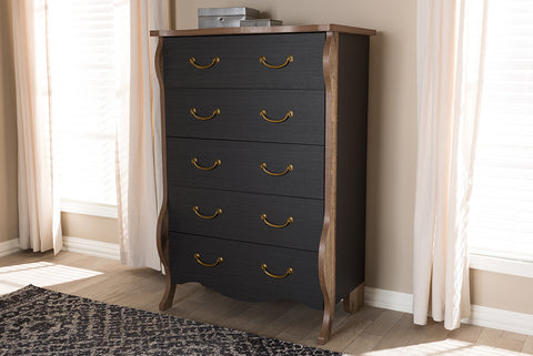 Baxton Studio Romilly Country Cottage Farmhouse Black and Oak-Finished Wood 5-Drawer Chest Image 3
