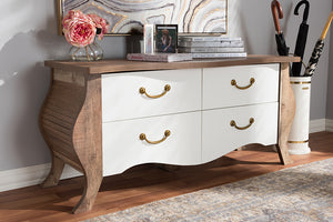 Baxton Studio Raynell Country Cottage Farmhouse Antique White and Oak-Finished Wood 4-Drawer Cabinet-Cabinets-HipBeds.com