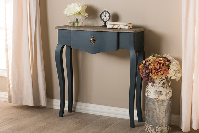 Baxton Studio Mazarine Classic and Provincial Blue Spruce Finished Console Table