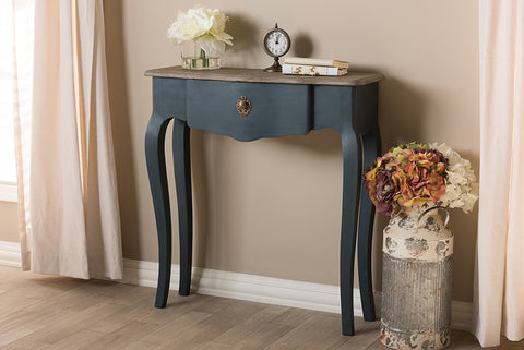 Baxton Studio Mazarine Classic and Provincial Blue Spruce Finished Console Table Image 3