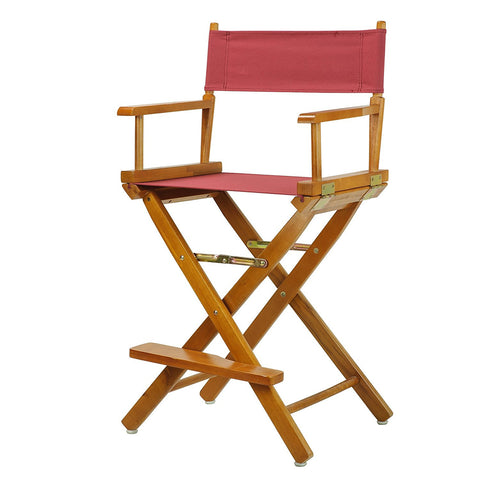 "Casual Home 30"" Director's Chair Honey Oak Frame-Burgundy Canvas - 230-05/021-48-Chairs-HipBeds.com"