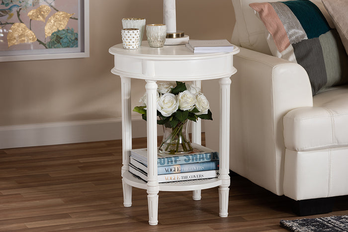 Baxton Studio Poire Country Cottage Farmhouse White Finished End Table