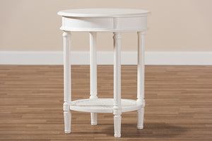 Baxton Studio Poire Country Cottage Farmhouse White Finished End Table-End Tables-HipBeds.com