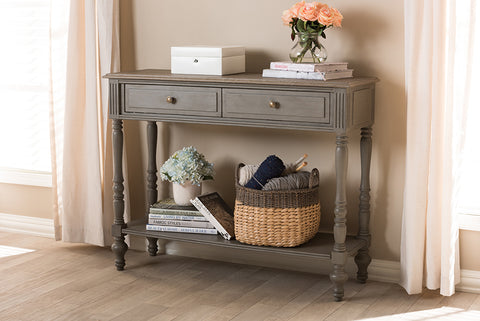 Baxton Studio Noemie Country Cottage Farmhouse Brown Finished 2-Drawer Console Table-Console Tables-HipBeds.com