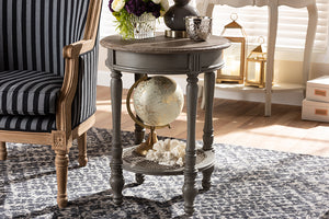 Baxton Studio Noemie Country Cottage Farmhouse Brown Finished End Table-End Tables-HipBeds.com
