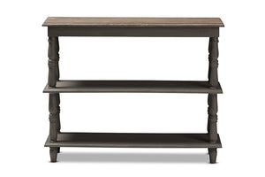 Baxton Studio Nellie Country Cottage Farmhouse Weathered Brown Finished Wood Console Table-Console Tables-HipBeds.com