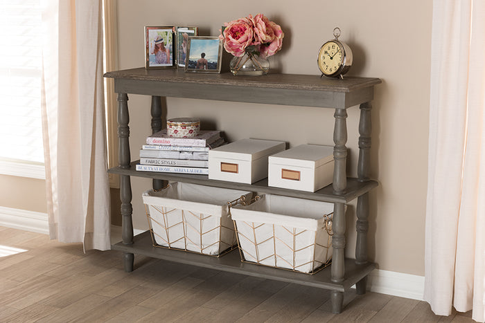 Baxton Studio Nellie Country Cottage Farmhouse Weathered Brown Finished Wood Console Table