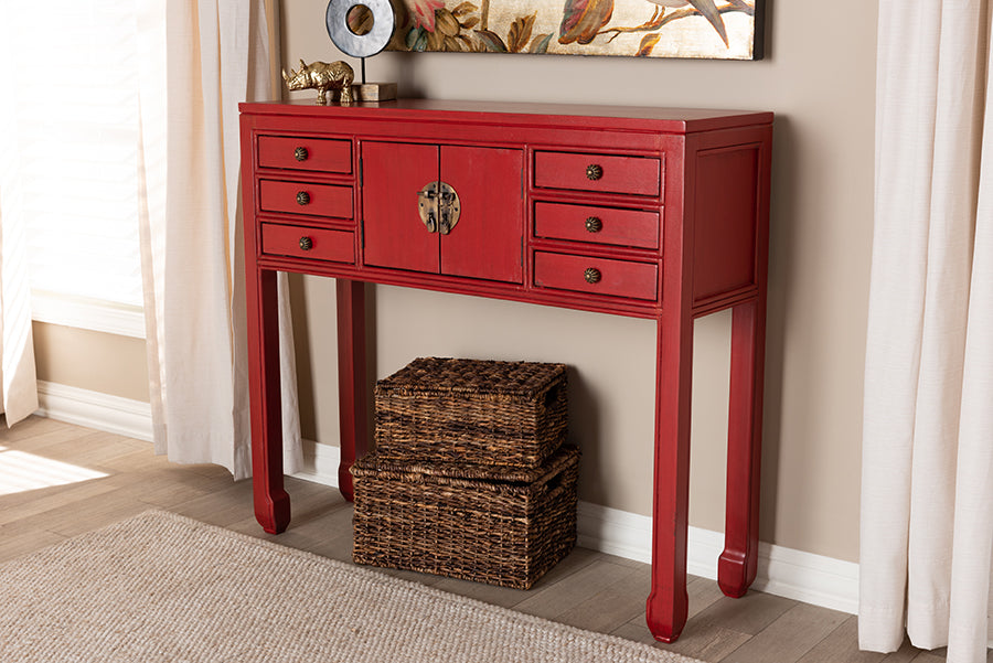 Incredible Baxton Studio Melodie Classic And Antique Red Finished Wood Bronze Finished Accents 6 Drawer Console Table Spiritservingveterans Wood Chair Design Ideas Spiritservingveteransorg