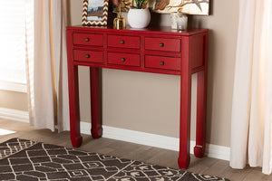 Baxton Studio Pomme Classic and Antique Red Finished Wood Bronze Finished Accents 6-Drawer Console Table-Console Tables-HipBeds.com