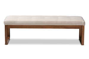 Baxton Studio Caramay Modern and Contemporary Light Beige Fabric Upholstered Walnut Brown Finished Wood Bench-Benches-HipBeds.com