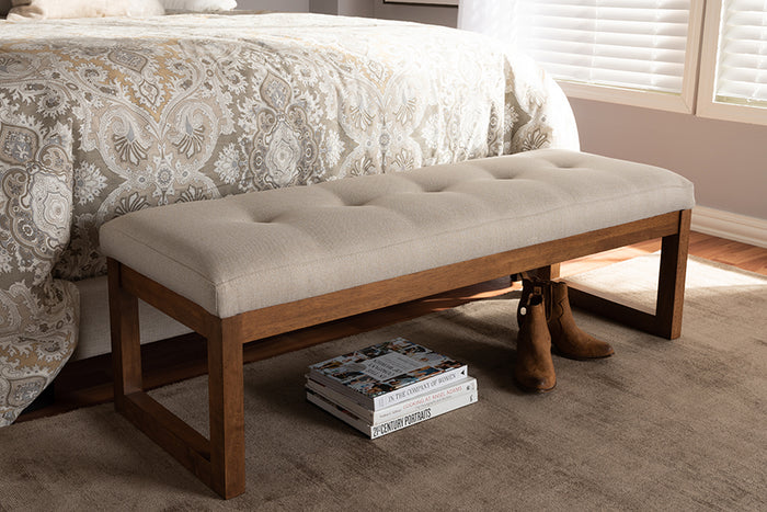 Baxton Studio Caramay Modern and Contemporary Light Beige Fabric Upholstered Walnut Brown Finished Wood Bench