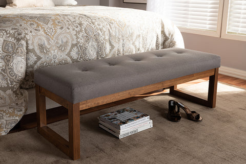 Baxton Studio Caramay Modern and Contemporary Grey Fabric Upholstered Walnut Brown Finished Wood Bench-Benches-HipBeds.com