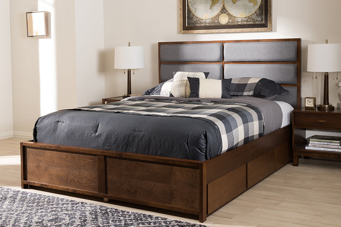 Baxton Studio Macey Modern and Contemporary Dark Grey Fabric Upholstered Walnut Finished Queen Size Storage Platform Bed