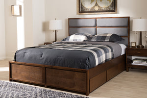 Baxton Studio Macey Modern and Contemporary Dark Grey Fabric Upholstered Walnut Finished Queen Size Storage Platform Bed-Storage Beds-HipBeds.com