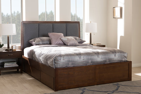 Baxton Studio Brannigan Modern and Contemporary Dark Grey Fabric Upholstered Walnut Finished Queen Size Storage Platform Bed-Storage Beds-HipBeds.com