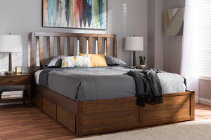 Baxton Studio Raurey Modern and Contemporary Walnut Finished King Size Storage Platform Bed Image 3