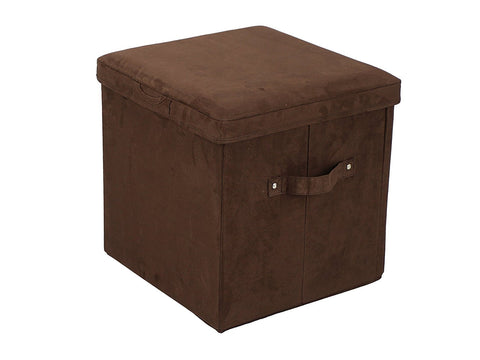 Casual Home Seat Pad Folding Storage Ottoman. Micro Suede Cover-Brown - 112-63-Ottomans-HipBeds.com