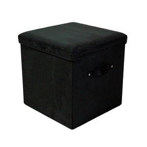 Casual Home Seat Pad Folding Storage Ottoman. Micro Suede Cover-Black - 112-62-Ottomans-HipBeds.com