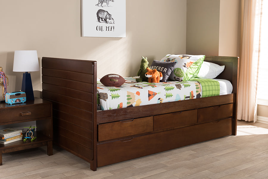Baxton Studio Linna Modern and Contemporary Walnut Brown-Finished Daybed  with Trundle