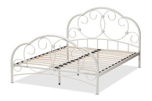 Baxton Studio Liliane Vintage Industrial Antique White Finished Metal Full Size Platform Bed-Platform Beds-HipBeds.com