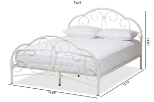 Baxton Studio Liliane Vintage Industrial Antique White Finished Metal Queen Size Platform Bed-Platform Beds-HipBeds.com