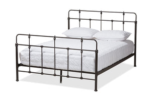 Baxton Studio Ginette Vintage Industrial Antique Black Finished Metal Full Size Platform Bed-Platform Beds-HipBeds.com