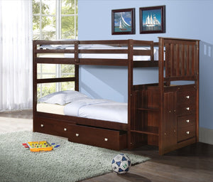 Donco Kids T/T Stairway Bunk Bed Dark Cappucino 820-CP-Bunk Beds-HipBeds.com