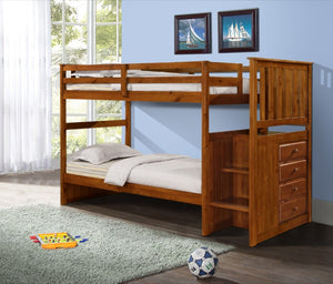 Donco Kids T/T Mission Stairway Bunk Bed 820-E-Bunk Beds-HipBeds.com