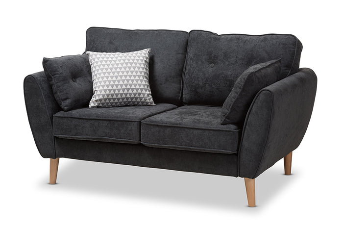 Baxton Studio Miranda Mid-Century Modern Dark Grey Fabric Upholstered Loveseat