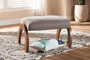 Baxton Studio Sandrine Modern and Contemporary Grey Fabric Upholstered Walnut Brown Finished Wood Ottoman-Ottomans-HipBeds.com