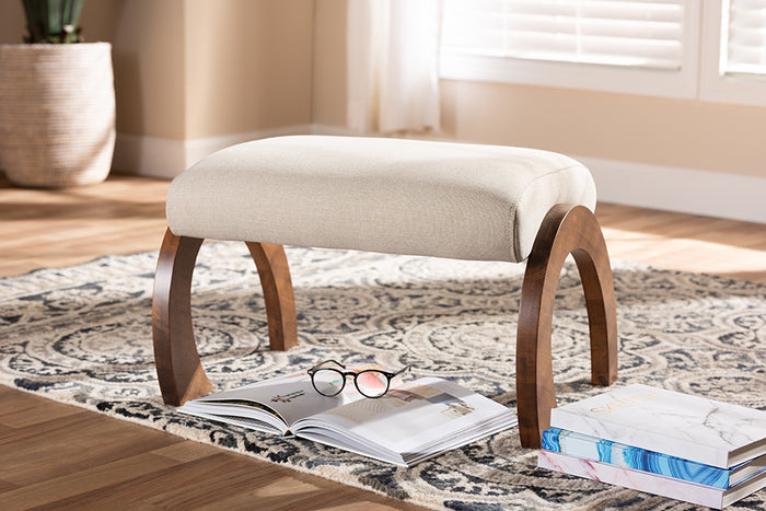 Baxton Studio Sandrine Modern and Contemporary Light Beige Fabric Upholstered Walnut Brown Finished Wood Ottoman