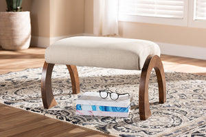 Baxton Studio Sandrine Modern and Contemporary Light Beige Fabric Upholstered Walnut Brown Finished Wood Ottoman-Ottomans-HipBeds.com