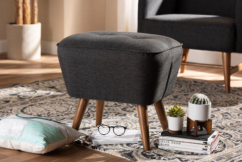 Baxton Studio Petronelle Mid-Century Modern Dark Grey Fabric Upholstered Walnut Brown Finished Wood Ottoman-Ottomans-HipBeds.com
