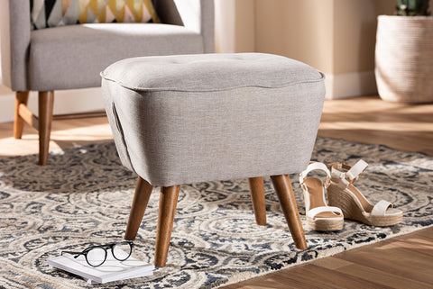 Baxton Studio Petronelle Mid-Century Modern Greyish Beige Fabric Upholstered Walnut Brown Finished Wood Ottoman-Ottomans-HipBeds.com